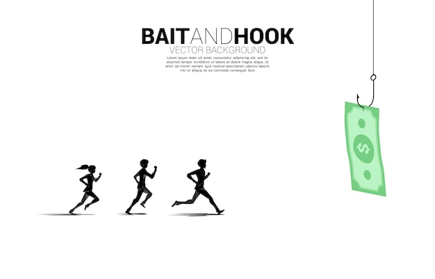 Silhouet van zakenman en zakenvrouw lopen volg bankbiljet met vishaak. concept aas en haak in zaken.