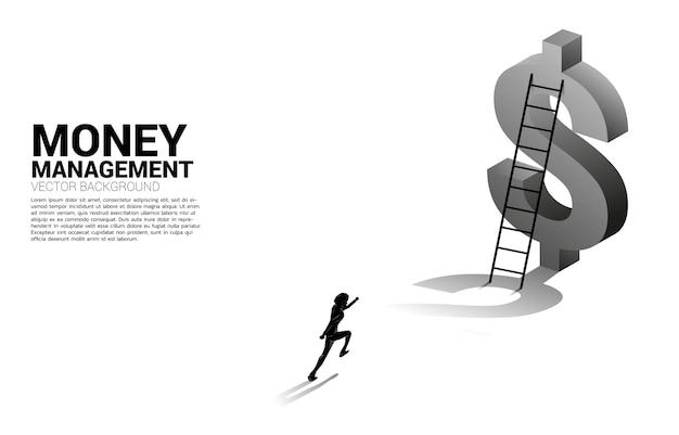 Silhouet van zakenman loopt naar ladder naar 3d-dollarpictogram