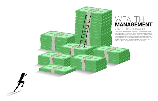Silhouet van zakenman loopt naar stapel bankbiljetten en ladder