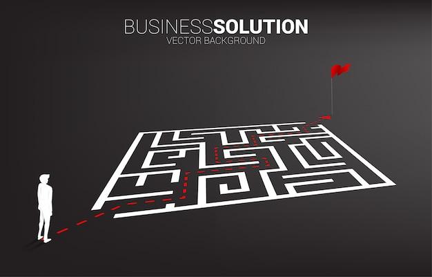 Silhouet van zakenman met routeweg om het labyrint te verlaten om te markeren