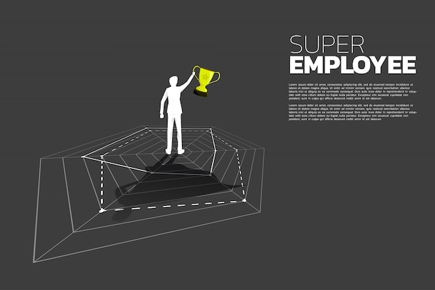 Silhouet van zakenman met trofee die zich op spingrafiek bevinden met superheroschaduw. concept van beste werknemers- en personeelsbeheer.