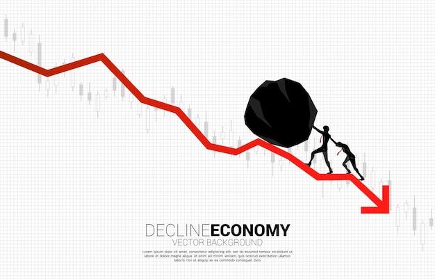 Silhouet van zakenman team duwen de rots aan het rollen down.stop financiële crisis. concept van zakelijke uitdaging en teamwork.