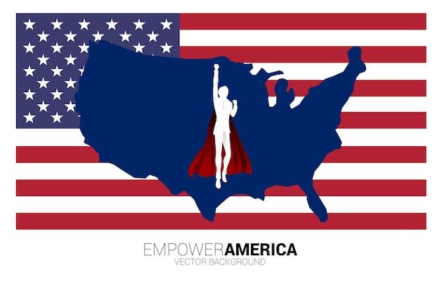 Silhouet van zakenman vliegen met achtergrond usa vlag en kaart. businessconcept voor opstarten in de verenigde staten.