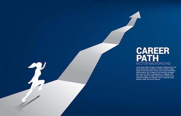 Silhouet van zakenvrouw die op groeigrafiek loopt. concept mensen klaar om carrière en zaken te beginnen