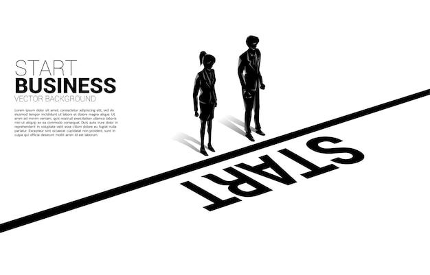 Silhouet van zakenvrouw en zakenvrouw permanent op startlijn. concept mensen klaar om carrière en zaken te beginnen