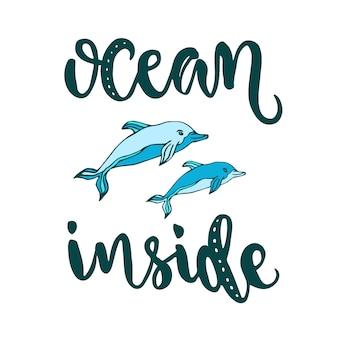 Silhouet vector dolfijnen met moderne belettering ocean binnen. creatieve vector zomer print