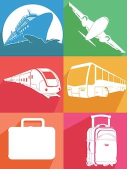 Silhouet vliegtuig schip trein vervoer icoon