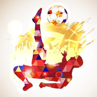 Silhouet voetbal voetballer en bal, fans op grunge achtergrond. modern veelhoekig patroon. vector illustratie