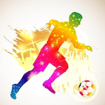 Silhouet voetbal voetballer en bal. voetbalfans op grunge achtergrond. moderne heldere levendige kleur. vector illustratie