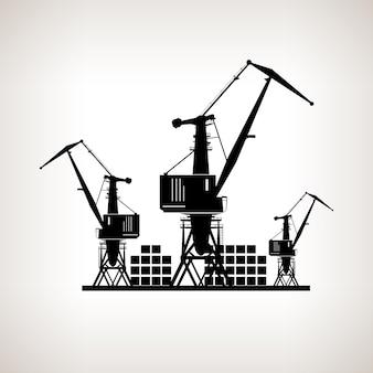 Silhouet vrachtkranen en containers op een lichte achtergrond, zwart-wit vectorillustratie
