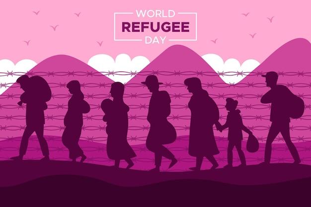Silhouet wereld vluchteling dag concept