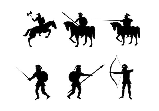 Silhouetcollectie van spartaanse krijger