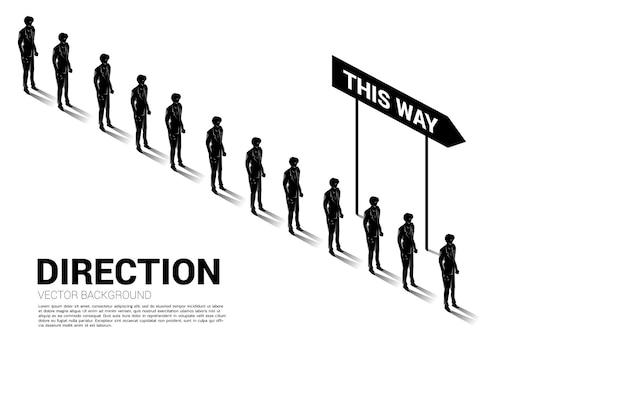Silhouetgroep zakenmanwachtrij met richting