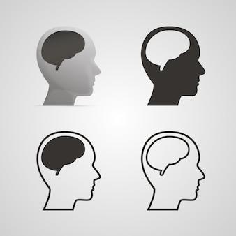 Silhouethoofd met de hersenenreeks. vector illustratie