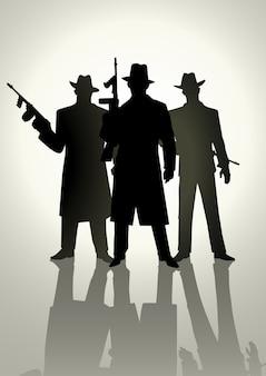 Silhouetillustratie van een gangster