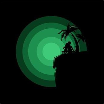Silhouetillustratie van een paar zittend op een klif vector