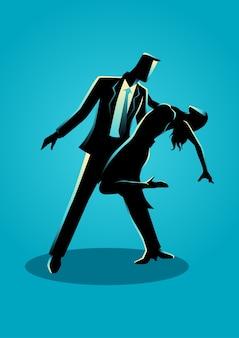 Silhouetillustratie van paar het dansen