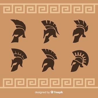 Silhouetinzameling van spartaanse helmen
