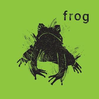 Silhouetkikker in de stijl dierlijk pictogram van het grungeontwerp