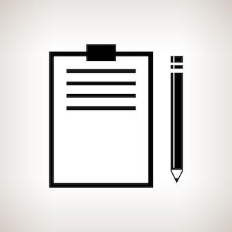 Silhouetklembord met een potlood op een lichte achtergrond, zwart-witte vectorillustratie