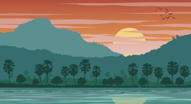 Silhouetlandschap van landlandschap van azië op tropisch gebied met palmen