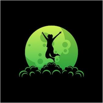 Silhouetlogo van man die op de maan springt vector