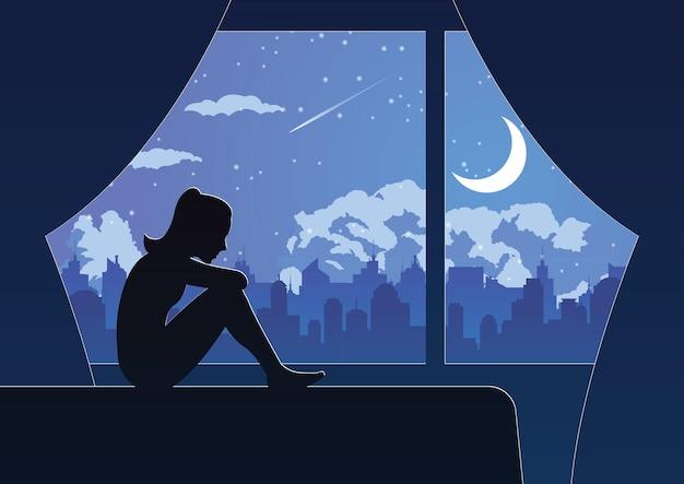 Silhouetontwerp van eenzaam meisje zit droevig in haar kamer