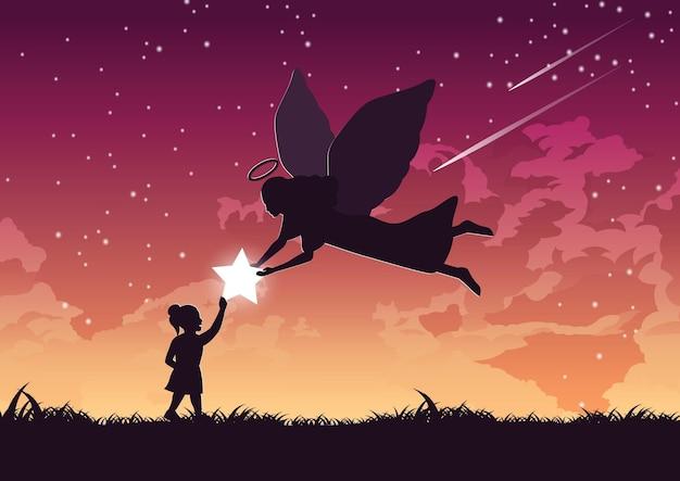 Silhouetontwerp van engel geeft ster aan het meisje, vectorillustratie