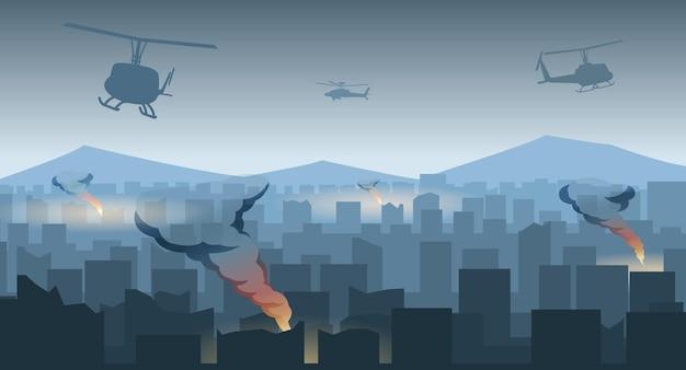 Silhouetontwerp van oorlog in het midden van de stad, vectorillustratie