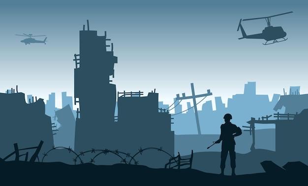 Silhouetontwerp van soldaat die staat en een pistool vasthoudt in de stad na de oorlog, vectorillustratie