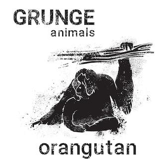 Silhouetorangoetan in het dier van de stijl van het ontwerp van grunge