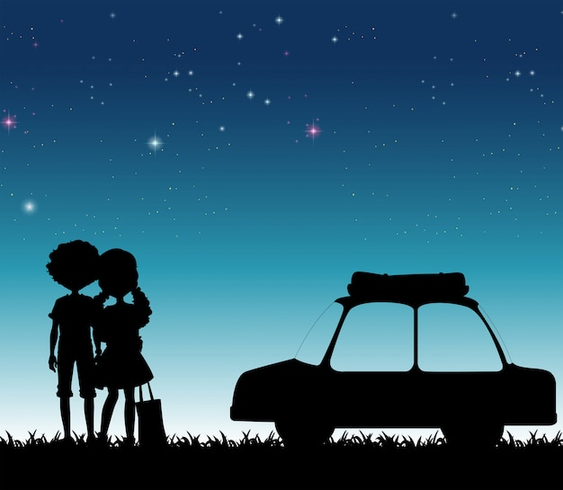 Silhouetpaar bij nacht