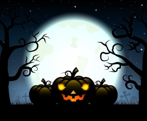 Silhouetpompoen het snijden in kerkhof voor halloween-dag