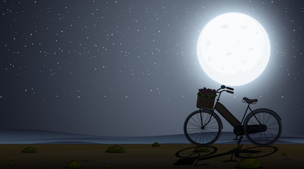 Silhouetscène met fiets bij nacht