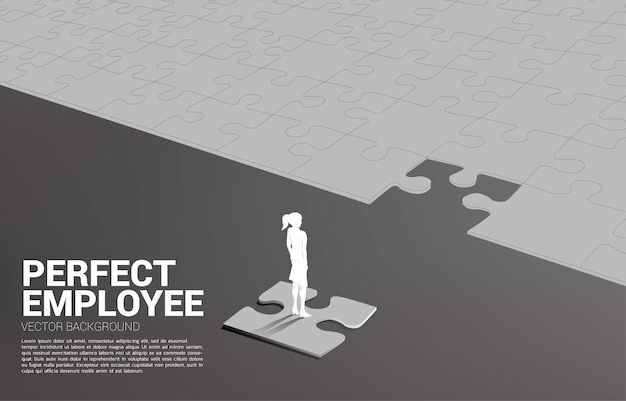Silhouettebusinessman die zich op definitief figuurzaagstuk bevindt. van perfecte werving. human resource. zet de juiste man op de juiste baan.