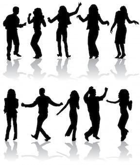 Silhouetten dansende man en vrouw