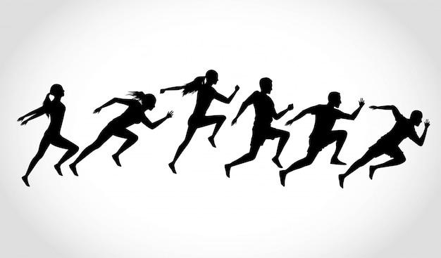 Silhouetten van atletiekmensen die lopen