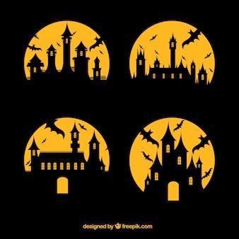 Silhouetten van betoverde kastelen