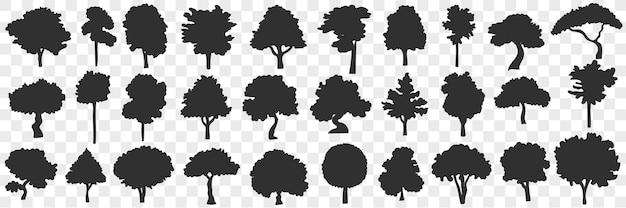 Silhouetten van bomen doodle set