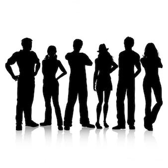 Silhouetten van casual geklede mensen