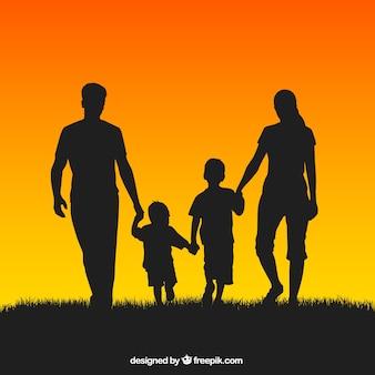 Silhouetten van de familie