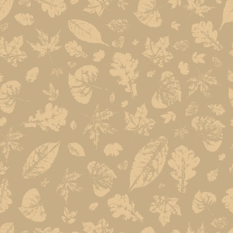 Silhouetten van de herfstbladeren naadloos patroon