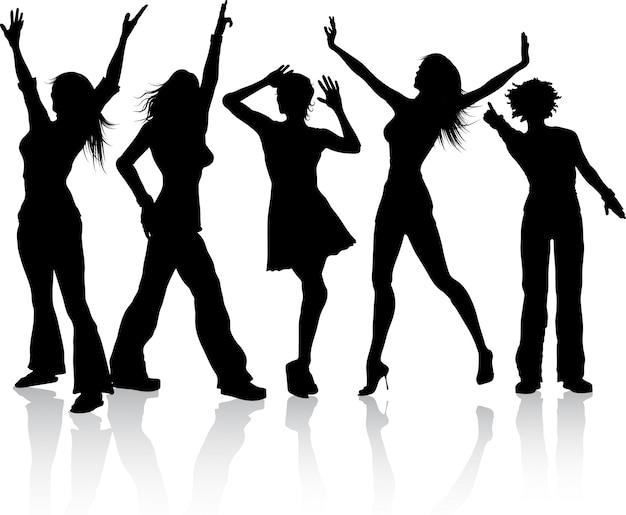 Silhouetten van de vrouwen dansen