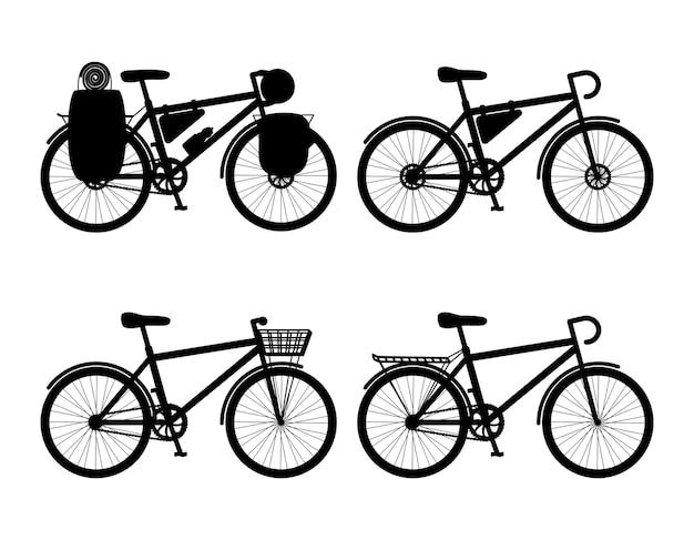 Silhouetten van fietsen geïsoleerd op een witte achtergrond