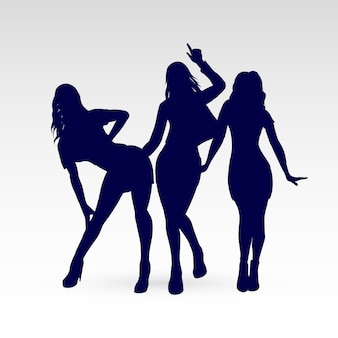 Silhouetten van go-go dance girls