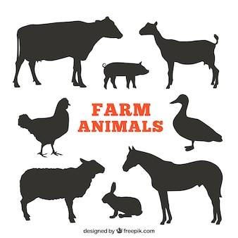 Silhouetten van landbouwhuisdieren