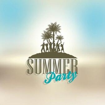Silhouetten van mensen dansen op een zomerse thema achtergrond