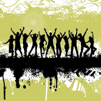 Silhouetten van mensen dansen op grunge achtergrond