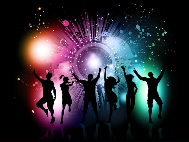 Silhouetten van mensen die dansen op een kleurrijke grunge-achtergrond