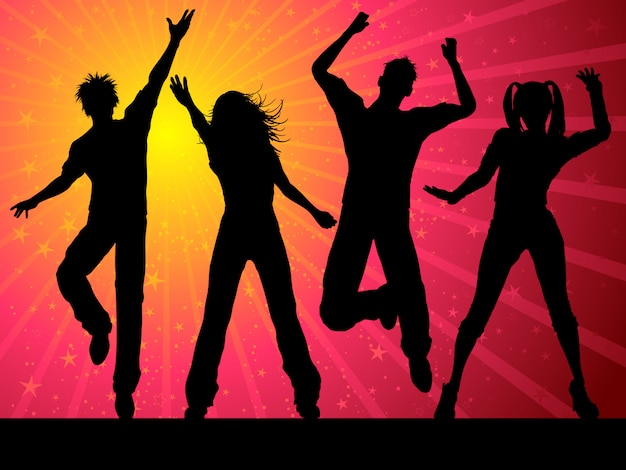 Silhouetten van mensen die op sterrige achtergrond dansen